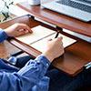 座デスク(ローデスク・コンパクトデスク・キーボードスライダー・サブテーブル・W750×D550・ダークオーク木目柄・在宅勤務・テレワーク)