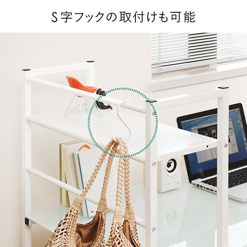 パソコンデスク(ガラス天板・幅120cm・シェルフ付き・ブラック)