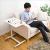 ノートパソコンサイドテーブル(高さ700~840mm・ガス圧昇降調整・テレワーク・在宅勤務・ホワイト)