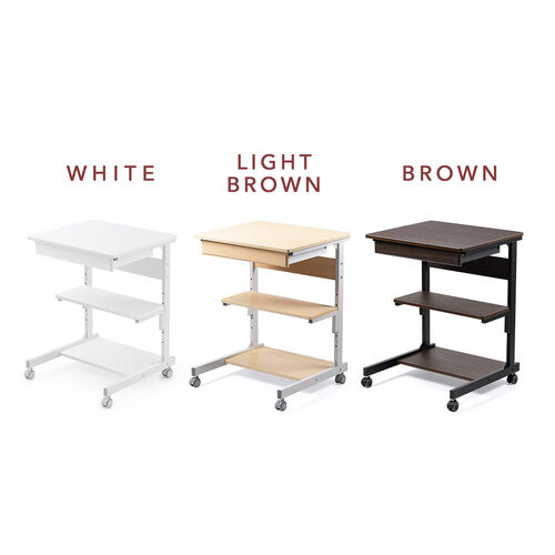 パソコンラック(パソコンデスク・テレワークラック・幅55cm・引き出し付き・棚可変・ゴムキャスター)