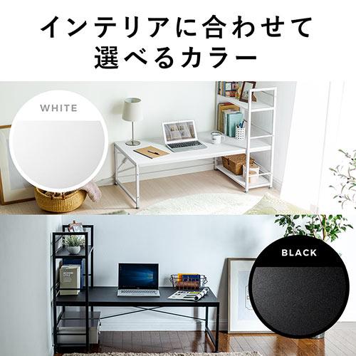 パソコンデスク(ロータイプ・収納付・木製・120cm幅・ローデスク・ホワイト)