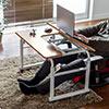 昇降式パソコンデスク(手動昇降・脚幅伸縮・傾斜変更可能・カップホルダー・多機能・W80×D60cm・木目・液タブ)