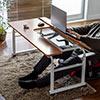 昇降式パソコンデスク 手動昇降 脚幅伸縮 傾斜変更可能 カップホルダー 多機能 W120×D60cm 木目 液タブ