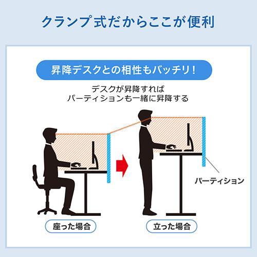 フェルトパーティション(デスクパネル・デスクパーテーション・クランプ取付・幅100cm・ホワイト)