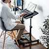 ノートパソコンデスク ノートPC台 ベッドサイドテーブル ソファーサイドテーブル 高さ58~88cm 角度調整 幅60cm×奥行40cm キャスター付き テレワーク 在宅勤務 ブラック