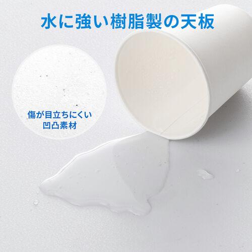 折りたたみテーブル(省スペース・W1800mm・D740mm・樹脂天板・簡単組立・持ち運び・取っ手付き・ホワイト)