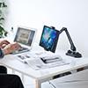 iPad・タブレット用アームスタンド(吸盤式・6関節・ホルダー360度回転・アルミ)