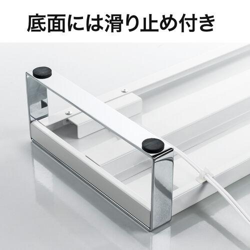 机上台(幅100cm・USB3.0・コンセント搭載・スチール製・ホワイト)