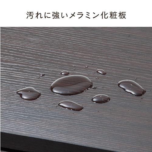 木製デスクワゴン(3段・木製・ブラウン・カバン置き・フック付き・チェスト・キャビネット・キャスター付き)