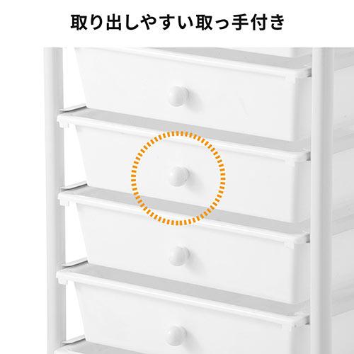 デスクワゴン(キャスター付・キャビネット・サイドワゴン・樹脂トレー・6段・ブラック)