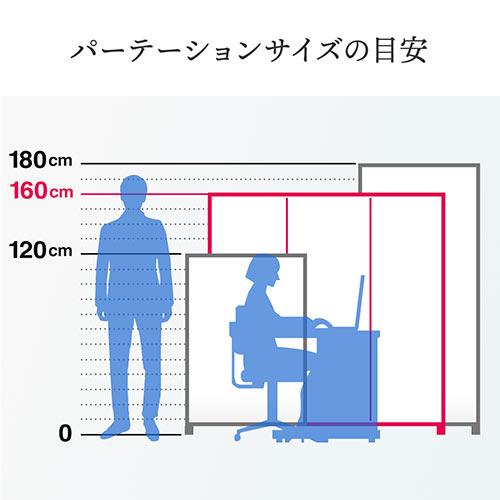パーティション(衝立・折りたたみ式・プライバシー・3連・アクリル・クリア透明・360°回転・キャスター・アルミ・高さ160cm)