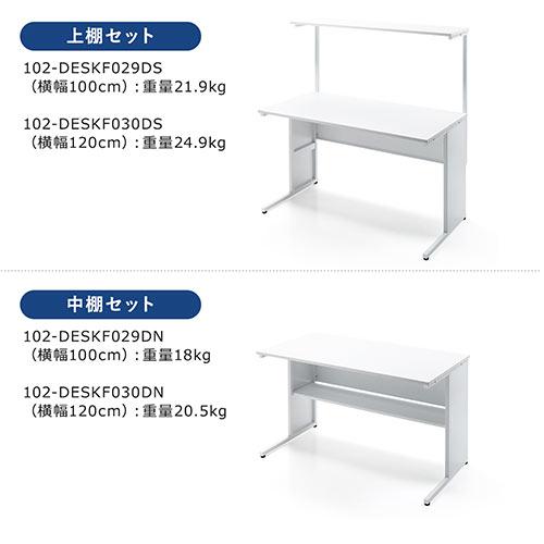 サブテーブル付きスチールデスク(オフィスデスク・平机・パソコンデスク・事務机・ホワイト・W1200mm・D600・ホワイト)