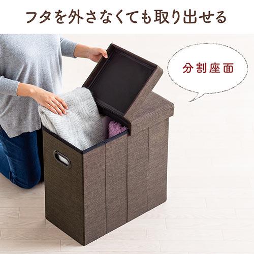 収納スツール(チェア・椅子・収納ボックス・折りたたみ・座面取り外し可能・オットマン・持ち手付き・耐荷重60kg・ブラウン)