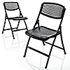 軽量折りたたみ椅子(PP製・メッシュ加工・2脚セット)