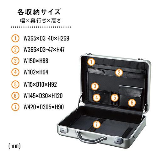 アタッシュケース(アルミケース・通勤・A4・パソコン収納対応・スタイリッシュ・ブラック)
