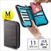 パスポートケース(トラベルオーガナイザー・11ポケット・航空券対応・お薬手帳・Mサイズ・グレー)