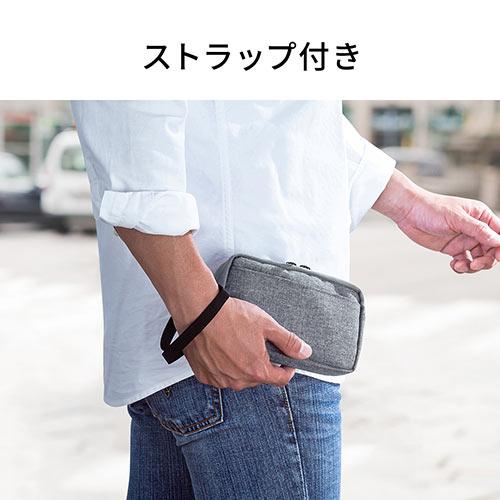 ガジェットポーチ(モバイルバッテリー・Wi-Fiルーター・iPhone・ケーブル収納・Sサイズ・ネイビー)