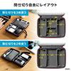 トラベルポーチ(収納ケース・充電器ポーチ・セミハードタイプ・PC周辺小物整理・収納ポーチ用・ケーブル・ACアダプター・モバイルバッテリー・Sサイズ・ブラック)