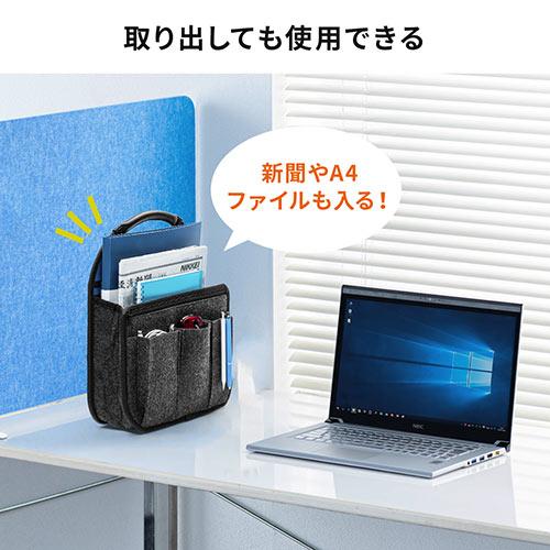 バッグインバッグ(リュック用・フェルト・軽量・縦型・15ポケット・自立可能・テレワーク・在宅勤務・ブルー)