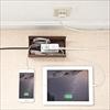 ケーブル・タップ収納ボックス(ブラウン&ホワイト・ミニサイズ)