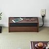 ケーブルボックス(タップ収納ボックス・スマホスタンド機能・充電ステーション・木目柄・ダークブラウン)