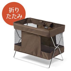 収納ボックス(折りたたみ・かご・カバン入れ・机下収納・布・ブラウン)