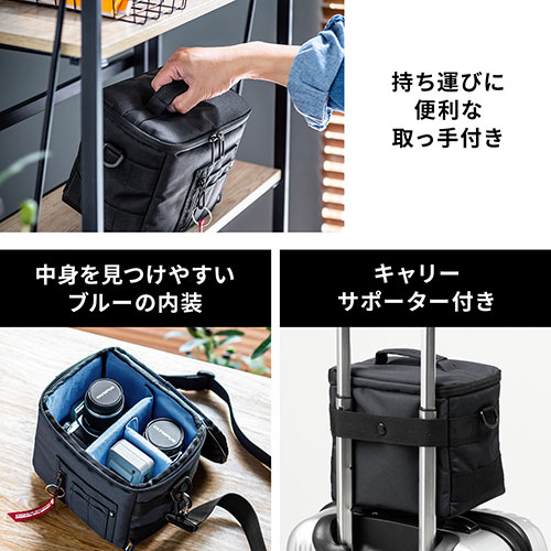 デジタルカメラケース(ショルダーバッグ・カメラバック・ミラーレスバッグ・マルチバッグ・コーデュラナイロン・保管バッグ・収納バッグ・ネイビー)