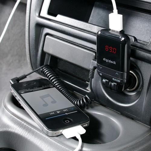 FMステレオトランスミッター(iPhone・iPod・スマートフォン対応・USB充電機能付)