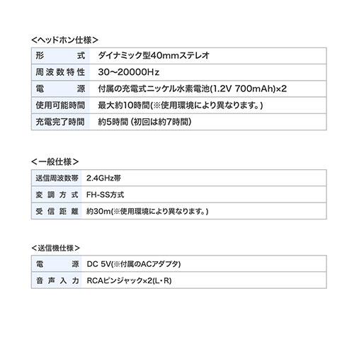 テレビヘッドホン ワイヤレス(最大30m・連続10時間)