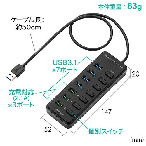 充電ポート付きUSBハブ(7ポート・充電ポート×3・個別スイッチ・USB3.1 Gen1 Aコネクタ接続・セルフパワー)