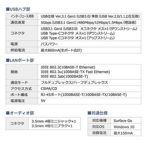 Surface Go・Go 2専用USB3.1/3.0ハブ(USB Type-C・USB A・USB3.1 Gen1・有線LANポート・3.5mm4極ミニジャック・バスパワー・ブラック)