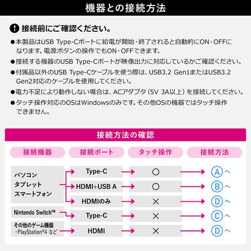 モバイルモニター(タッチパネル・16.1インチ・フルHD・USB Type-C・HDMI出力・スピーカー/スタンドカバー付き・テレワーク・Nintendo Switch対応)