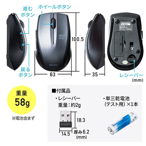 左右対称ワイヤレス静音マウス(光学式・ガンメタリック)