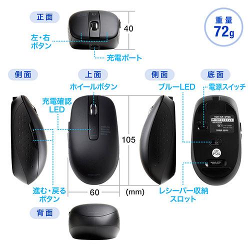 【50%OFFセール】ワイヤレスマウス(充電式・静音・ブルーLED光学式・5ボタン・ブラック)