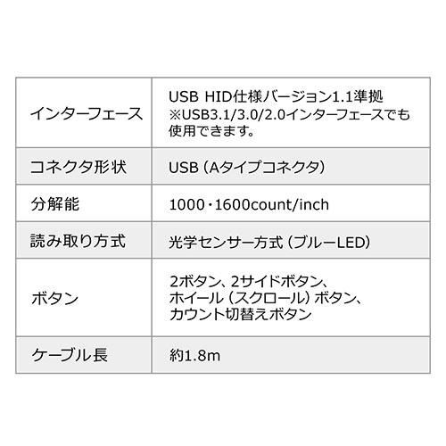 有線エルゴマウス(人間工学・縦型エルゴ・ブルーLED光学式・DPI切替)
