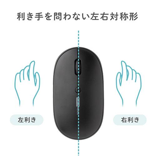 充電マウス(フラットマウス・ワイヤレスマウス・静音マウス・ブルーLED・電池不要・3ボタン・カバー変更・ホワイト)