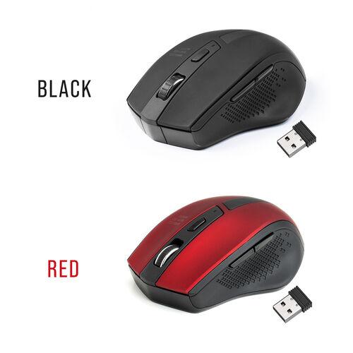 ワイヤレスマウス(エルゴマウス・静音マウス・5ボタン・1000/1600カウント・レッド)