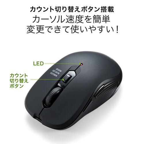 Type-Cマウス ワイヤレスマウス ブルーLEDセンサー 5ボタン DPI切替 ラバーコーティング ブラック