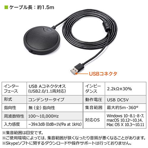 WEB会議マイク(USB接続・薄型・Skype対応・高感度・無指向性・5m)