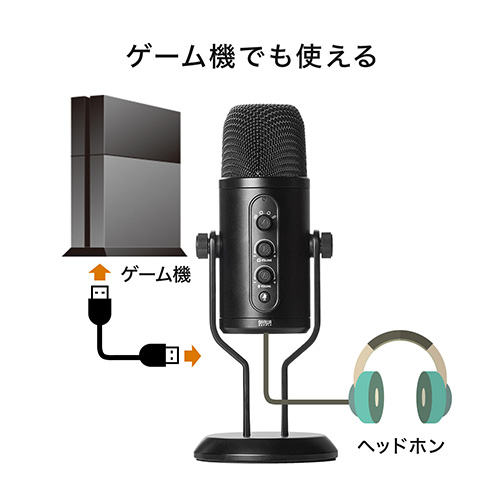 USBマイク(コンデンサーマイク・ステレオレコーディングマイク・24bit/96kHz・指向性切替・ヘッドホン接続可能・PS4/PS5対応)