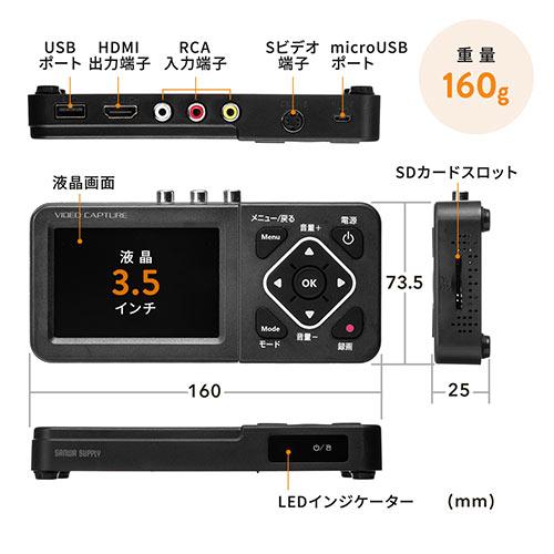 ビデオキャプチャー(ビデオデジタル機・デジタル保存・ビデオテープ・テープダビング・モニター確認・USB/SD保存・HDMI出力)