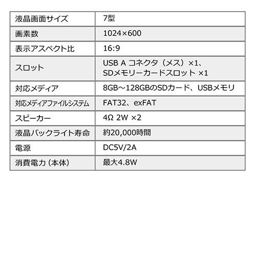 電子ポップモニター(メディアプレーヤー・小型サイネージ・店内販促・SD/USB・マグネット取り付け・スタンド付き・7インチモニター・メディアスタンド・モバイルモニター)