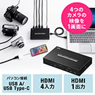 USB-HDMIカメラアダプタ(UVC対応・WEBカメラ・4入力・HDMI出力・Zoom・Skype・Windows・Mac)