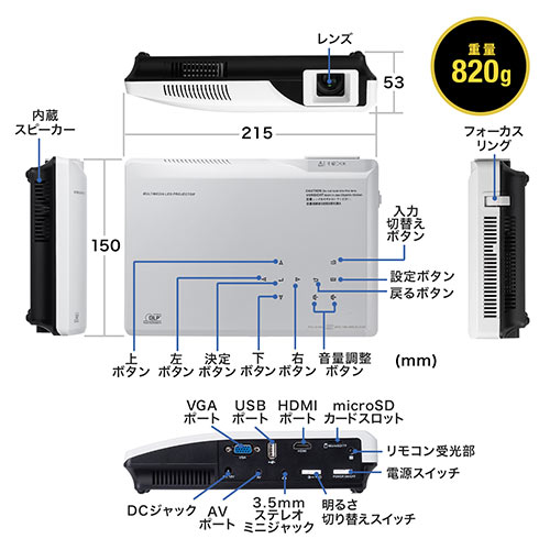 【売り尽くし決算セール】プロジェクター ビジネス家庭用 小型 500ルーメン HDMI VGA USB microSD スマホ タブレット ゲーム機対応 台形補正 スピーカー内蔵