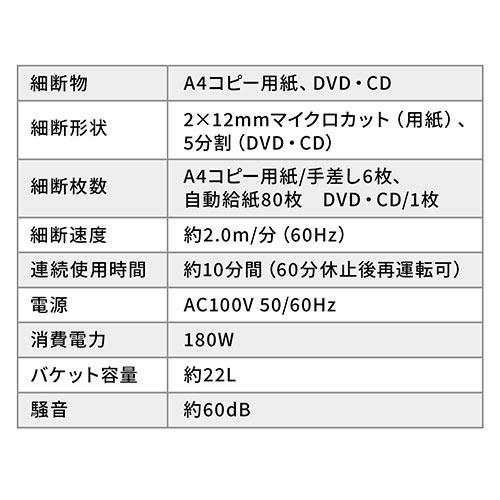 【オフィスアイテムセール】オートフィードシュレッダー(業務用・マイクロカット・2×12mm・自動給紙80枚・手差し細断・10分連続細断・DVD/CD細断)