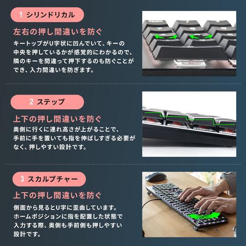ロープロファイルキーボード(赤軸・メカニカル・Nキーロールオーバー・テンキーレス・バックライト搭載)