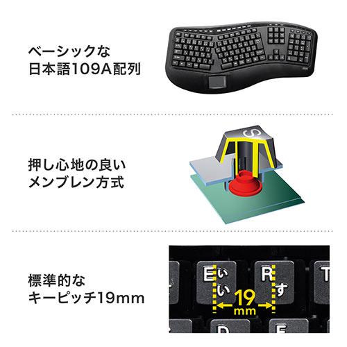 エルゴノミクスキーボード(人間工学キーボード・エルゴキーボード・ワイヤレス・タッチパッド・メンブレン・フルキーボード)