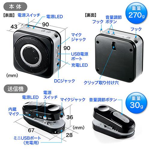 【2台セット】ハンズフリー拡声器(ワイヤレス・小型・10W・最大20m)