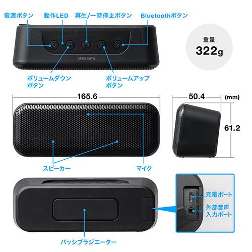 Bluetoothスピーカー(高出力・防水IPX4・低音強調・出力10W・2個セット)