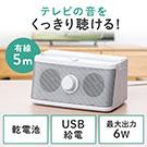 テレビスピーカー・手元スピーカー(有線・TV用手元延長スピーカー・電池式・USB給電対応・ホワイト)